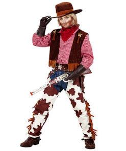 Lier - Verkleedkledij kinderen - verkleedkostuum - western - cowboy vest - koeprint - chaps - cowboyhoed - saloon - sheriff