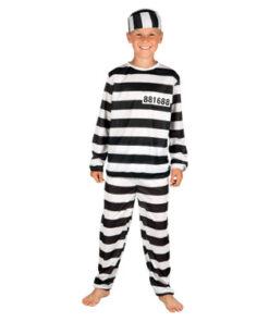 Carnaval kostuum kind - Lier - beroep - verkleedkledij kinderen - boef - gestreept pak - gevangenisbol - dief - thema politie