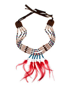 Lier - accessoire - carnaval - kinderen - volwassenen - western - indianen - sieraden - themafeest - squaw - country - veren - kralen