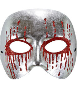 Lier - Carnaval - Halloween - horror - half gezichtsmasker - silver - red - glitter - psychopaat - oogmasker