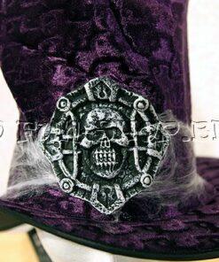 Halloween accessoires - Lier - hoed - schedel - skull - spinnenweb - buishoed - fluweel - doodskop