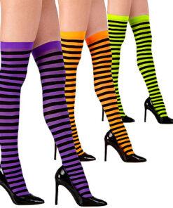 Halloween accessoires - Lier - beenmode - panty - carnaval - sokken - gestreepte kousen - fluo geel - fluo oranje - paars - zwart