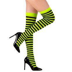 Halloween accessoires - Lier - beenmode - panty - carnaval - sokken - gestreepte kousen - fluo geel - bij - wesp - hommel