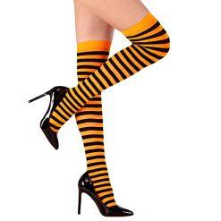 Halloween accessoires - Lier - beenmode - panty - carnaval - sokken - gestreepte kousen - fluo oranje - heks - zwart gestreept