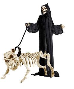 Halloween decoratie - Lier - skelet - geraamte - bulldog - dog - halloween hond