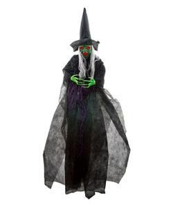 Halloween Decoratie - Lier - wanddecoratie - witch - hekserij - lachende heks - bewegende decoratie - lichtgevende ogen