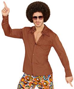 Lier - jaren 70 - 70's - olifantenpijpen - bruin hemd - disco - groovy - Fun-Shop - puntkragen - retro - studio 54