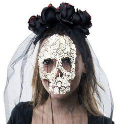 Halloween accessoires - Lier - haaraccessoire - zwarte roos - glitter - sluier - schedel - doodshoofd - skelet - carnaval