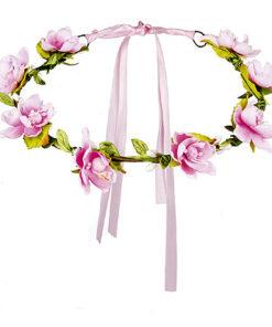 Lier - bloemenkrans - hoofdband bloem roze - summer - beach - oktoberfest - tirol - mallorca