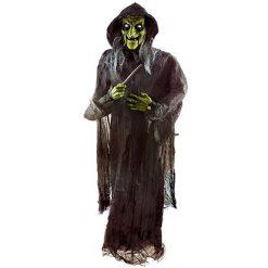 Halloween Decoratie - Lier - staande heks - bewegende griezel - sprekende heks - lichtgevende ogen - hekserij