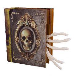 Halloween Decoratie - Lier - tafeldecoratie - bewegend boek - bewegende hand - geraamte - skelet - boek met licht en geluid