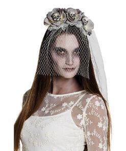 Halloween accessoires - Lier - haaraccessoire - rozen - bloem - sluier - bruid - married - huwelijk - horror - schedels