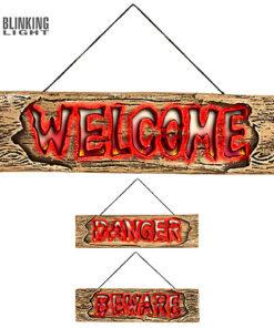 Halloween Decoratie - Lier - wanddecoratie - lichtgevend bord - opgepast - flikkerende lichtjes - welkom - gevaar