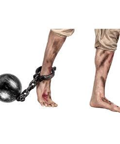 Halloween accessoires - Lier - ketting - prisoner - gevangene - bal - voet - geketend - chained - beroep - carnaval