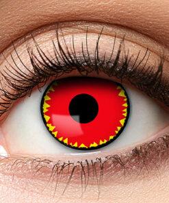 Lier - Carnaval - Halloween - contactlenzen - kleurlens - party lens - gekleurde lenzen - rood - geel - zon - sun eyes - demonen