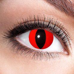 Lier - Carnaval - Halloween - contactlenzen - kleurlens - party lens - gekleurde lenzen - kattenoog - slangenoog - eye - rood