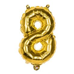 Folieballon Cijfer 8 Goud 36cm
