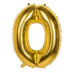 Folieballon Cijfer 0 Goud 86cm