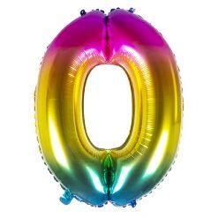 Folieballon Cijfer 0 Regenboog 86cm