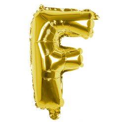 Folieballon Letter F Goud 36cm