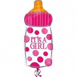 Folieballon Papfles Roze 'It's A Girl' 25x58cm