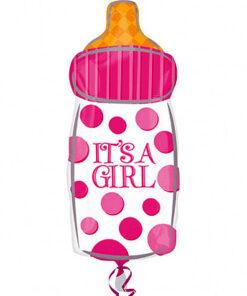 Ballonnen - Lier - feestversiering - Fun-Shop - helium - folie ballon - geboorte - meisje - baby - roze ballon - babyfles