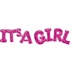 Folieballon Letters 'It's A Girl' Roze