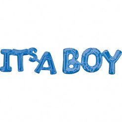 Folieballon Letters 'It's A Boy' Blauw