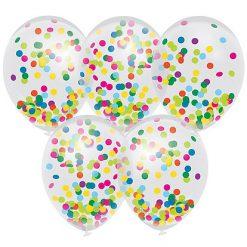 Ballonnen Transparant met confetti - 5 stuks