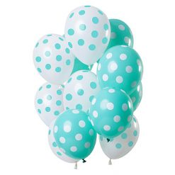 Ballonnen Stippen Mintgroen/Wit - 12 stuks