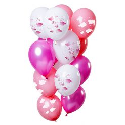 Ballonnen 'It's a girl' Roze - 12 stuks