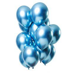 Ballonnen Mirror Effect Blauw - 12 stuks