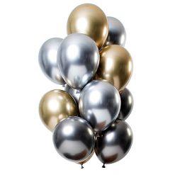 Ballonnen Mirror Effect Onyx - 12 stuks