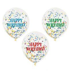 Ballonnen Happy Birthday met confetti - 6 stuks