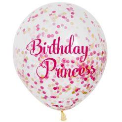 Ballonnen Birthday Princess met confetti - 6 stuks