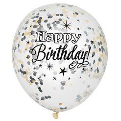 Ballonnen Birthday Glitter met confetti - 6 stuks