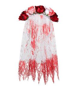 Halloween accessoires - Lier - haaraccessoire - rode roos - witte roos - bloem - sluier - bruid - married - huwelijk - horror
