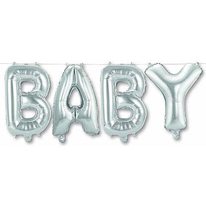 Folieballon Letters 'Baby' Zilver