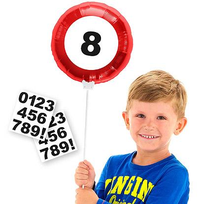 Folieballon Verkeersbord met stickers 23cm