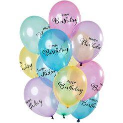 Ballonnen 'Happy Birthday' Pastel - 12 stuks
