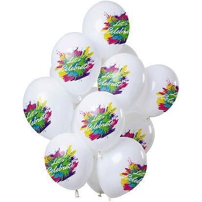 Ballonnen 'Let's Celebrate' Color Splash - 12 stuks