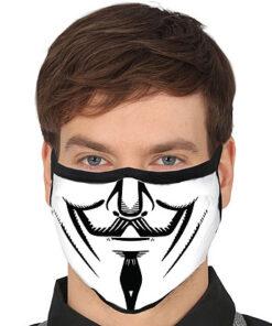 Lier - Carnaval - Halloween - mondmasker - Anonymous - herbruikbaar - print - bescherming - mondkapje