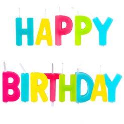 Kaarsjes 'Happy Birthday' op prikker 13 stuks