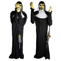 Halloween Decoratie - Lier - staande griezel - non - religieuzen - heilige - spook - enge non - the nun - bewegende decoratie