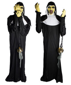 Halloween Decoratie - Lier - staande griezel - non - religieuzen - heilige - spook - enge non - the nun - bewegende decoratie