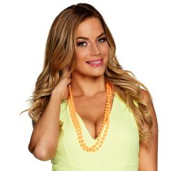 Lier - Carnaval - fluo - orange - parelketting - parels - kralen - jaren 80 - jaren 90 - ketting