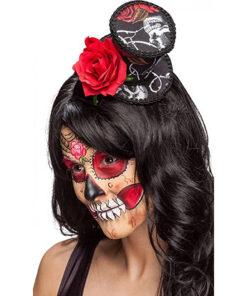 Halloween accessoires - Lier - bloemen - dia de los muertos - rozen - dag van de doden - buishoed - kleurrijk - mini hoed
