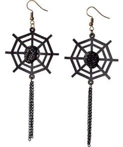 Halloween accessoires - Lier - sieraad - sieraden - carnaval - spinnen - spider - heksen - web - oorhangers - zwart